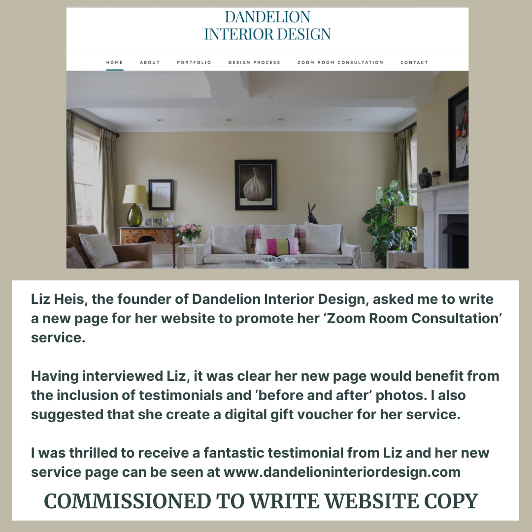 Description of copywriting work for Dandelion Interiors carried out by Rachael Hale Home Interiors Writer