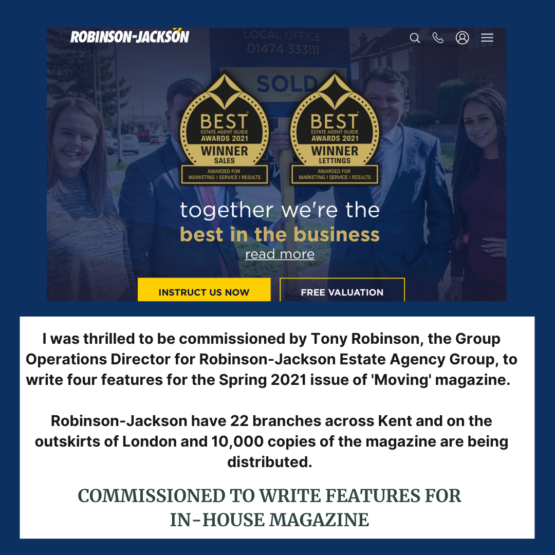 Description of copywriting work for Robinson Jackson Estate Agents by Rachael Hale home interiors writer