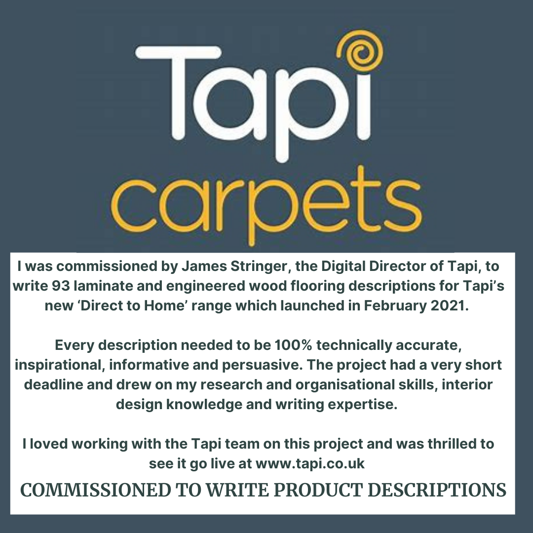 Description of copywriting work for Tapi Carpets and Flooring Limited by Rachael Hale home interiors writer